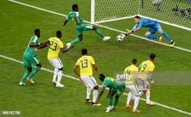 David Ospina of Colombia makes a save from Ismaila Sarr of Senegal during the 2018 FIFA World Cup Russia group H match between Senegal and Colombia...