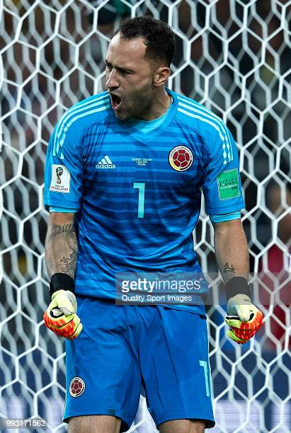 David Ospina of Colombia reacts during the 2018 FIFA World Cup Russia Round of 16 match between Colombia and England at Spartak Stadium on July 3...