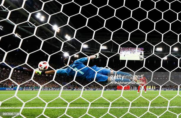 David Ospina of Colombia saves the third penalty from Jordan Henderson of England in the penalty shoot out during the 2018 FIFA World Cup Russia...