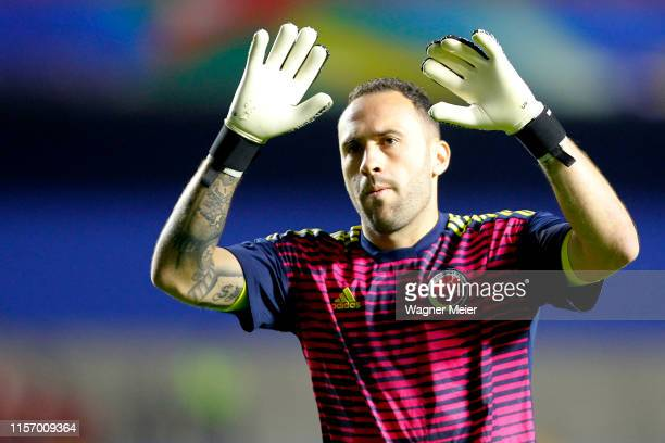 David Ospina of Colombia waves prior to the Copa America Brazil 2019 group B match between Colombia and Qatar at Morumbi Stadium on June 19 2019 in...