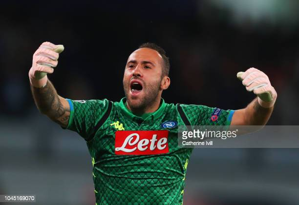 David Ospina of Napoli celebrates during the Group C match of the UEFA Champions League between SSC Napoli and Liverpool at Stadio San Paolo on...