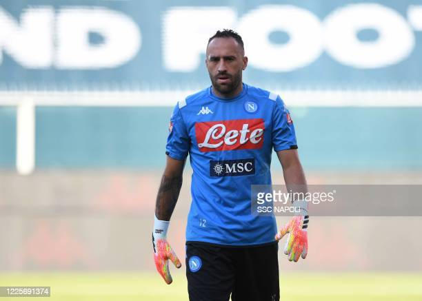 David Ospina of Napoli looks on prior to the Serie A match between Genoa CFC and SSC Napoli at Stadio Luigi Ferraris on July 8 2020 in Genoa Italy