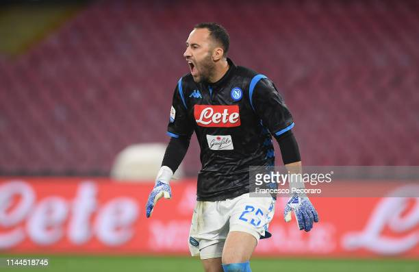David Ospina of SSC Napoli in action during the Serie A match between SSC Napoli and Atalanta BC at Stadio San Paolo on April 22 2019 in Naples Italy