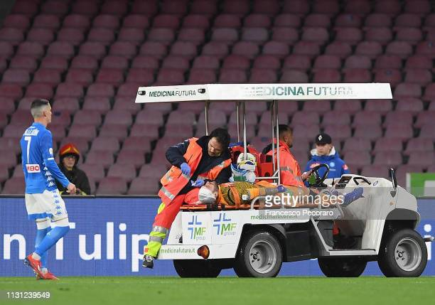 David Ospina of SSC Napoli injured during the Serie A match between SSC Napoli and Udinese at Stadio San Paolo on March 17 2019 in Naples Italy