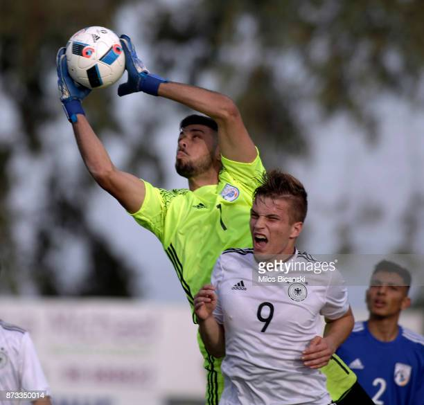 David Oto of Germany in action against Demetris Demetriou of Cyprus during the U19 International Friendly between U19 Cyprus and U19 Germany at...