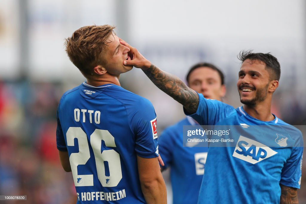 David Otto and Leonardo Bittencourt of Hoffenheim celebrate the second goal for Hoffenheim during the pre-season friendly match between Queens Park Rangers and tSG 1899 Hoffenheim on July 21, 2018 in Eppingen, Germany.