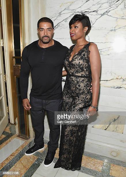 David Otunga and Jennifer Hudson attend the Marchesa fashion show during Spring 2016 New York Fashion Week at St Regis Hotel on September 16 2015 in...