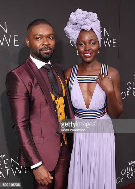 David Oyelowo and Lupita Nyong'o attend the Premiere Of Disney's Queen Of Katwe at the El Capitan Theatre on September 20 2016 in Hollywood California
