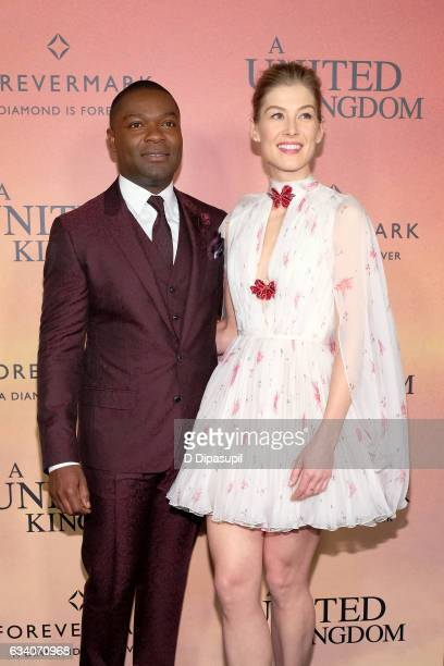 David Oyelowo and Rosamund Pike attend the 'A United Kingdom' world premiere at The Paris Theatre on February 6 2017 in New York City