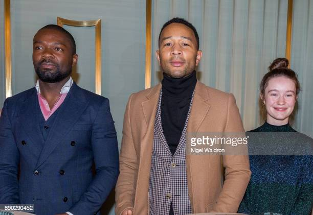 David Oyelowo John Legend and Sigrid attend the press conference ahead of the Nobel Peace Prize Concert 2017 at the Norwegian Nobel Institute on...