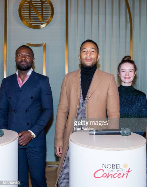 David Oyelowo this evenings host John Legend the headline act and Sigrid attend the press conference ahead of the Nobel Peace Prize Concert 2017 at...