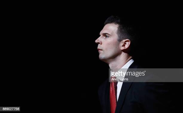 David Padgett the head coach of the Louisville Cardinals is introduced before the game against the Indiana Hoosiers at KFC YUM Center on December 9...