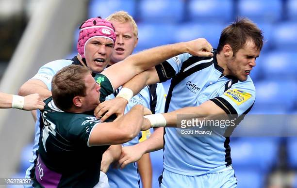David Paice of London Irish connects with Will Welch of Newcastle during the AVIVA Premiership match between London Irish and Newcastle Falcons at...
