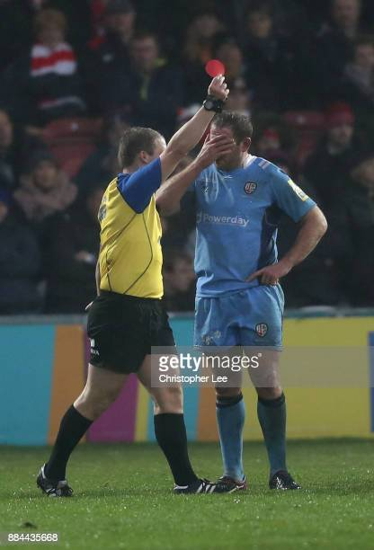 David Paice of London Irish holds his face after he is sent off during the Aviva Premiership match between Gloucester Rugby and London Irish at...