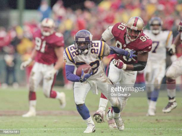 David Palmer Wide Receiver for the Minnesota Vikings runs with the ball during the National Football Conference West game against the San Francisco...