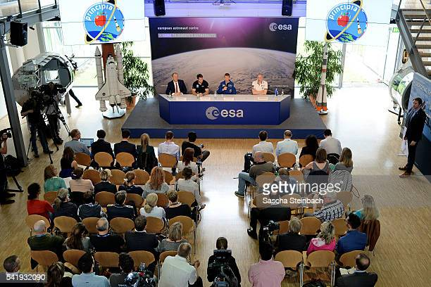 David Parker French astronout Thomas Pesquet British astronaut Tim Peake and Frank De Winne speak to the media at Tim Peake's first press conference...