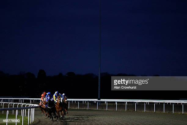 David Parkes riding Pearl Noir lead all the way to win The 32Red On The App Handicap Stakes at Kempton Park racecourse on February 18, 2015 in...