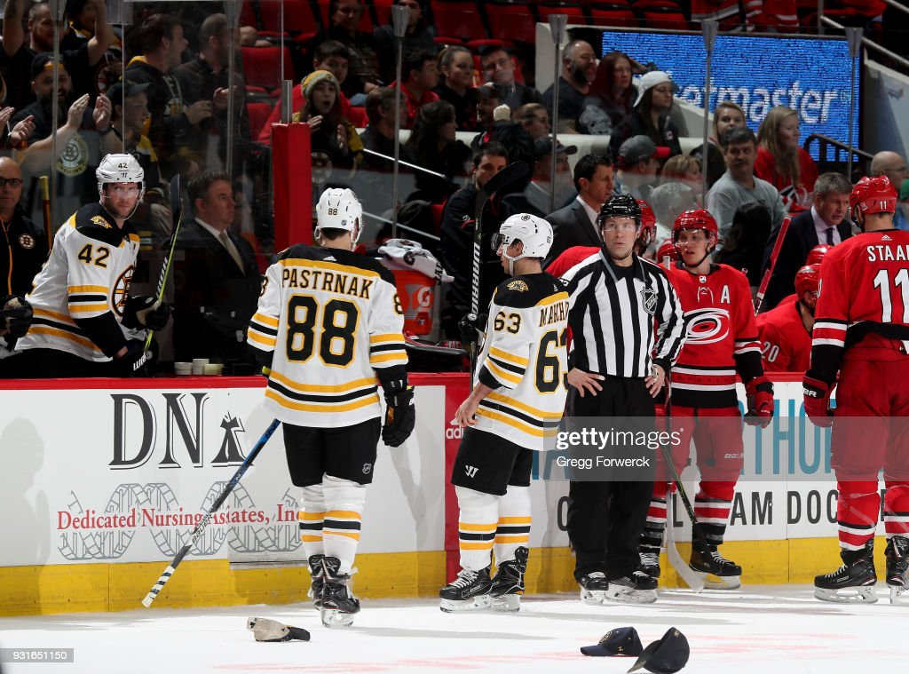 David Pasternak #88 of the Boston Bruins scores a natural hat trick during an NHL game against the Carolina Hurricanes on March 13, 2018 at PNC Arena in Raleigh, North Carolina.