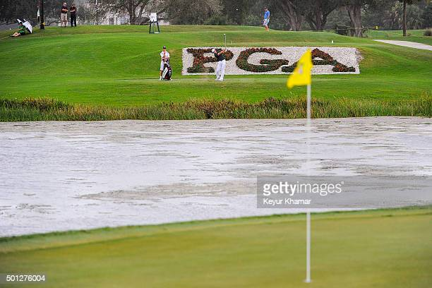 David Pastore hits his third tee shot from the drop zone on the 17th hole of the Champion Course during the final round of Webcom Tour QSchool at PGA...
