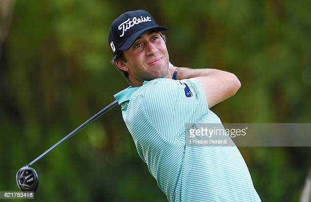 David Pastore of the United States watches his tee shot on the second hole during the second round of the PGA TOUR Latinoamerica Colombia Classic at...