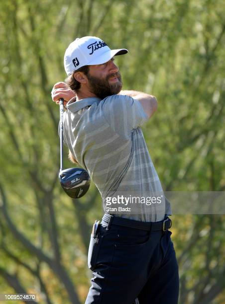 David Pastore plays a tee shot on the first hole during the second round of the Webcom Tour Qualifying Tournament at Whirlwind Golf Club on December...
