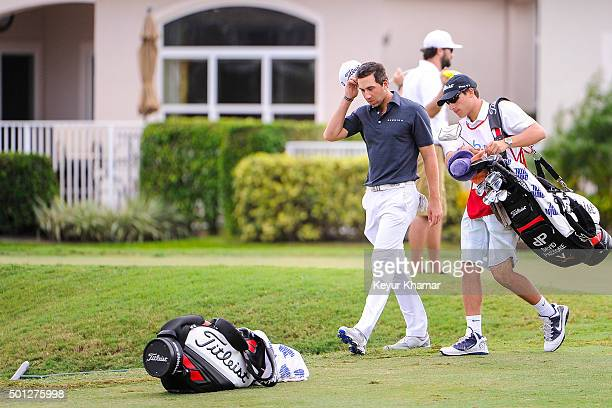 David Pastore reacts after carding a quadruple bogey 7 on the 17th hole of the Champion Course during the final round of Webcom Tour QSchool at PGA...
