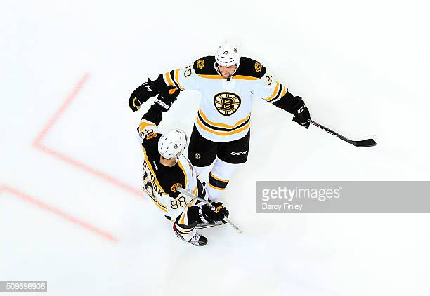 David Pastrnak and Matt Beleskey of the Boston Bruins celebrate a third period goal against the Winnipeg Jets at the MTS Centre on February 11 2016...