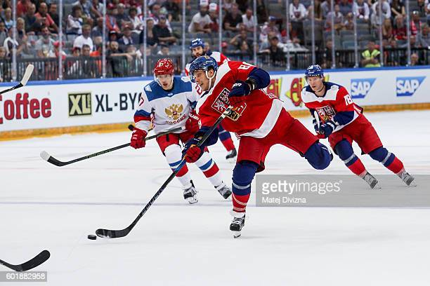 David Pastrnak of Czech Republic shots during the 2016 World Cup of Hockey preparation match between Czech Republic and Russia at O2 Arena Prague on...