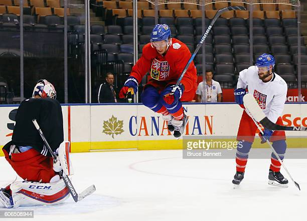 David Pastrnak of Team Czech Republic jumps to avoid a shot during practice at the Air Canada Centre on September 16 2016 in Toronto Canada