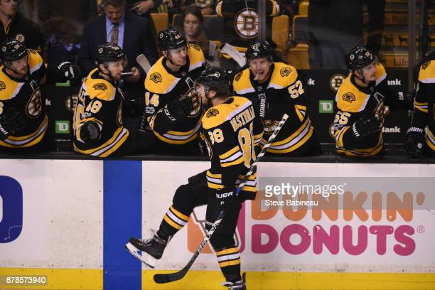 David Pastrnak of the Boston Bruins celebrates a goal in the third period against the Pittsburgh Penguins at the TD Garden on November 24 2017 in...