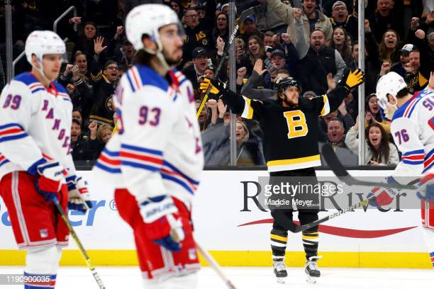 David Pastrnak of the Boston Bruins celebrates after scoring a goal against the New York Rangers during the third period at TD Garden on November 29,...