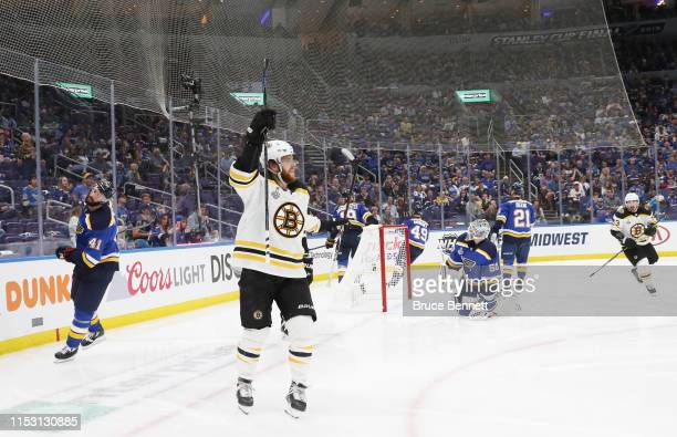 David Pastrnak of the Boston Bruins celebrates his second period goal against the St. Louis Blues in Game Three of the 2019 NHL Stanley Cup Final at...