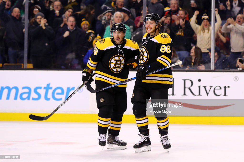 David Pastrnak #88 of the Boston Bruins celebrates with Brad Marchand #63 after scoring against the Carolina Hurricanesduring the first period at TD Garden on January 6, 2018 in Boston, Massachusetts.