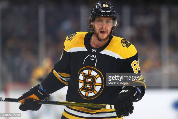David Pastrnak of the Boston Bruins looks on during the first period of the game against the Toronto Maple Leafs at TD Garden on October 22, 2019 in...
