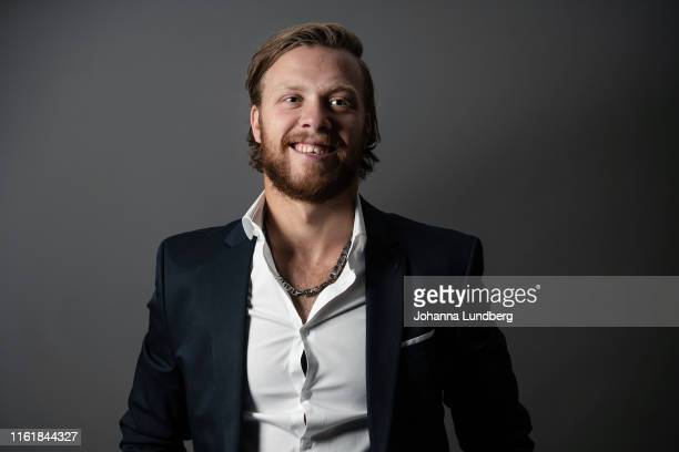 David Pastrnak of the Boston Bruins poses for a portrait during the NHL European Media Tour on August 15, 2019 in Stockholm, Sweden.