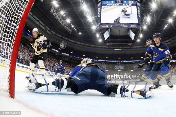 David Pastrnak of the Boston Bruins scores a third period goal past Jordan Binnington of the St Louis Blues in Game Six of the 2019 NHL Stanley Cup...