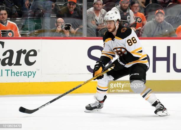David Pastrnak of the Boston Bruins skates against the Philadelphia Flyers on March 10 2020 at the Wells Fargo Center in Philadelphia Pennsylvania