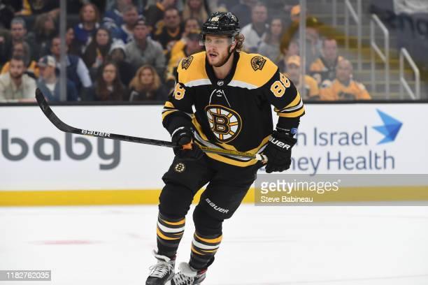 David Pastrnak of the Boston Bruins skates against the Toronto Maple Leafs at the TD Garden on October 22, 2019 in Boston, Massachusetts.