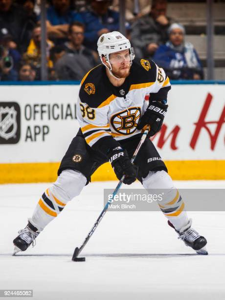 David Pastrnak of the Boston Bruins skates against the Toronto Maple Leafs during the second period at the Air Canada Centre on February 24 2018 in...