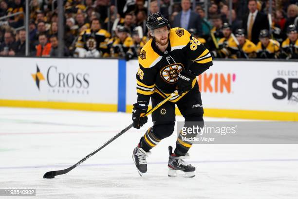 David Pastrnak of the Boston Bruins skates against the Winnipeg Jets during the third period at TD Garden on January 09 2020 in Boston Massachusetts...