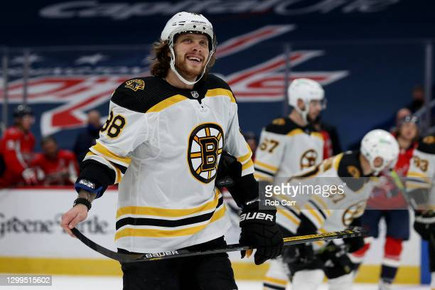 David Pastrnak of the Boston Bruins skates on the ice in the first period against the Washington Capitals at Capital One Arena on January 30, 2021 in...