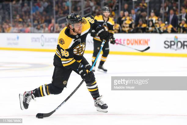 David Pastrnak of the Boston Bruins takes a shot on goal during the first period of the preseason game between the Philadelphia Flyers and the Boston...