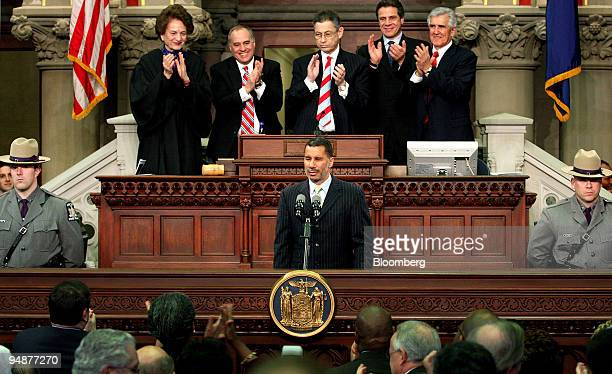 David Paterson New York's governor center is applauded after speaking and being swornin at the New York State Capitol in Albany New York US on Monday...