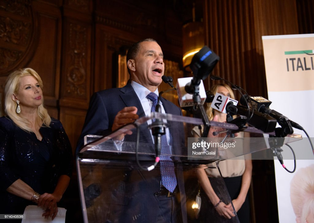 David Paterson speaks at Ivana Trump's press conference announcing her new campaign to fight obesity at The Plaza Hotel on June 13, 2018 in New York City.