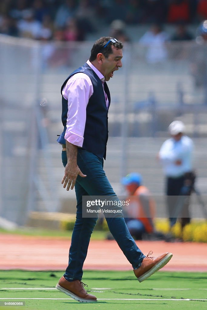 David Patiño coach of Pumas reacts after a goal of Puebla during the 15th round match between Pumas UNAM and Puebla as part of the Torneo Clausura 2018 Liga MX at Olimpico Universitario Stadium on April 15, 2018 in Mexico City, Mexico.