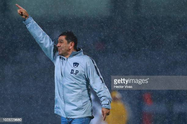 David Patiño Head Coach of Pumas gestures during the 6th round match between Pumas UNAM and Queretaro as part of the Torneo Apertura 2018 Liga MX at...