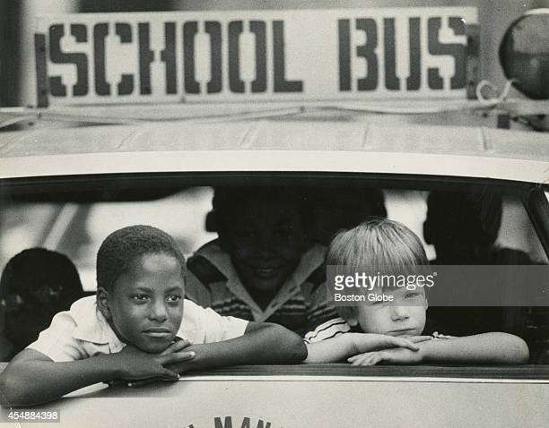David Patterson and Chris Russell reflect on the first day of school as they ride from McKay School in East Boston on Sept 5 1979 An initiative to...