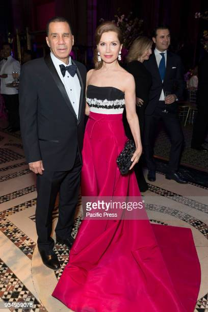 David Patterson Jean Shafiroff wearing dress by Carolina Herrera attend Endometriosis Foundation of America 9th Annual Blossom Ball at Cipriani 42nd...