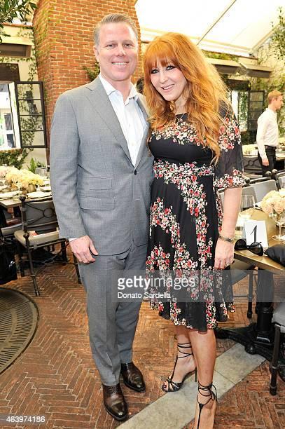 David Paul Olsen and makeup artist Charlotte Tilbury attend NETAPORTERCOM celebrates Charlotte Tilbury at the AOC on February 20 2015 in Los Angeles...