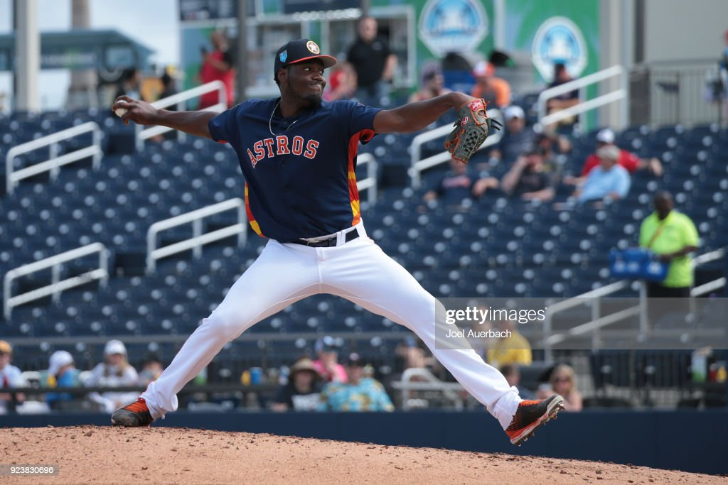 David Paulino #63 of the Houston Astros throws the ball against the Atlanta Braves during a spring training game at The Ballpark of the Palm Beaches on February 24, 2018 in West Palm Beach, Florida.